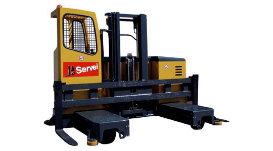 Side-loading forklifts